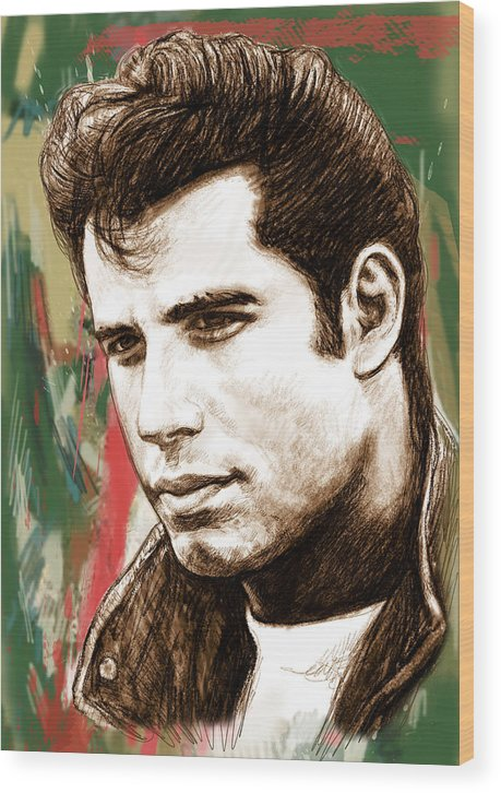Art Drawing Sharcoal.ketch Portrait Wood Print featuring the drawing John Travolta - Stylised Drawing Art Poster by Kim Wang