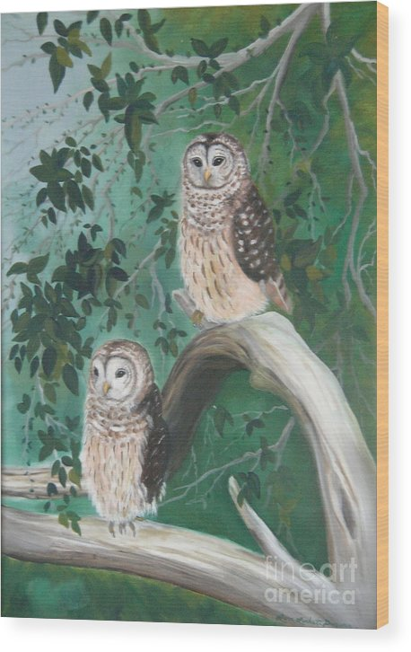 Owls Wood Print featuring the painting Night Owls by Lora Duguay