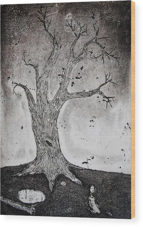 Girl Wood Print featuring the mixed media Burst Balloon by Josean Rivera