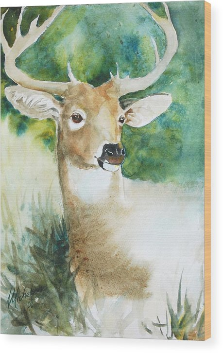 Deer Wood Print featuring the painting Forest Spirit by Christie Michelsen