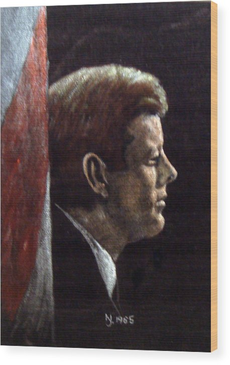 Jfk Wood Print featuring the painting John F. Kennedy by Norman F Jackson