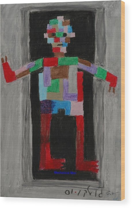Children Wood Print featuring the painting Mechanical Man by Harris Gulko