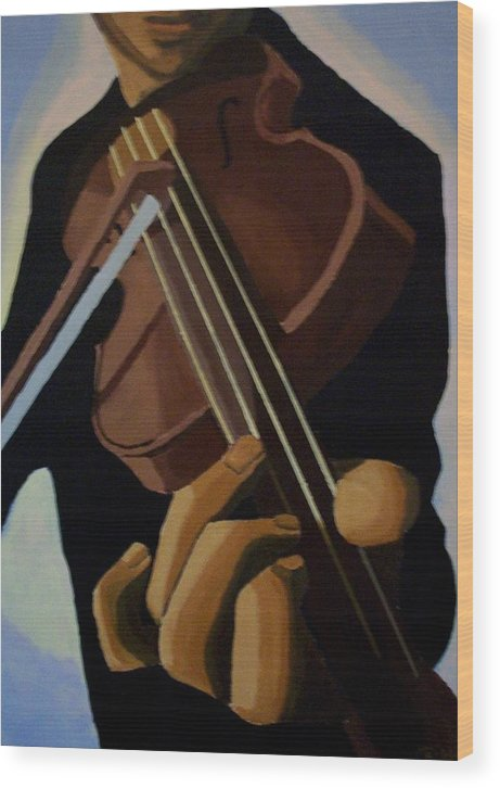 Portrait Wood Print featuring the painting Violin Player by Mats Eriksson