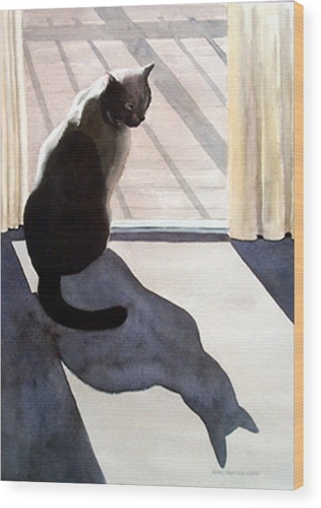 Cat Wood Print featuring the print Waiting To Go Out by Anne Trotter Hodge