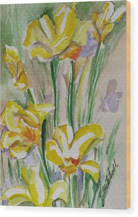 Floral Wood Print featuring the painting Yellow Wild Flowers I by Kathy Mitchell