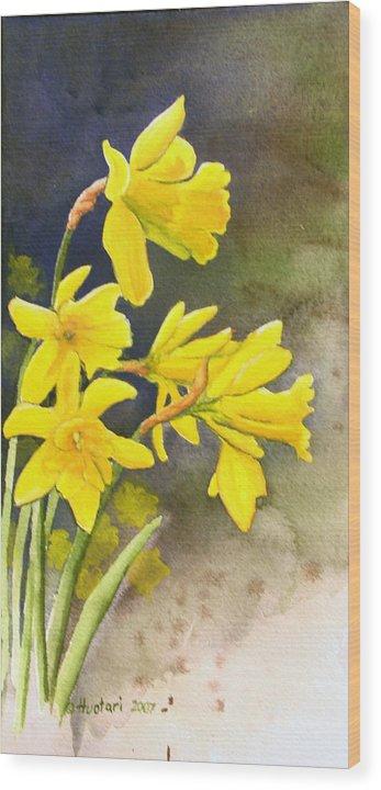 Rick Huotari Wood Print featuring the painting Daffodils by Rick Huotari