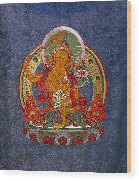 Manjushri Wood Print featuring the tapestry - textile Manjushri by Leslie Rinchen-Wongmo