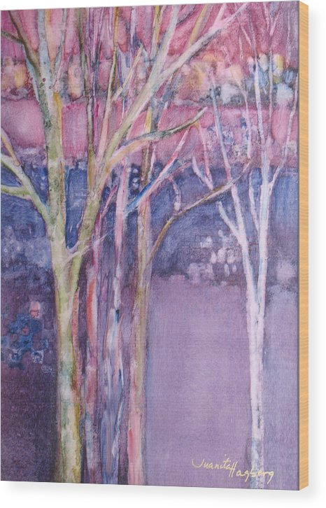 Abstract Wood Print featuring the painting The Street Where You Live by Juanita Hagberg
