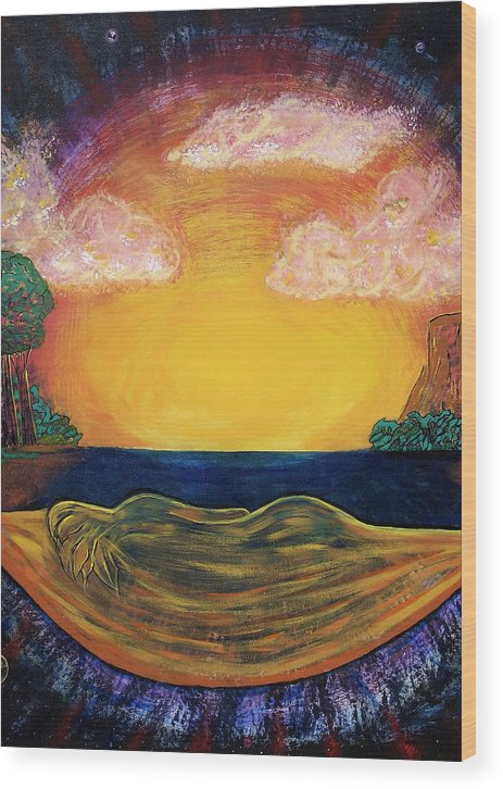 Goddess Wood Print featuring the painting Dreaming Goddess by Eric Singleton