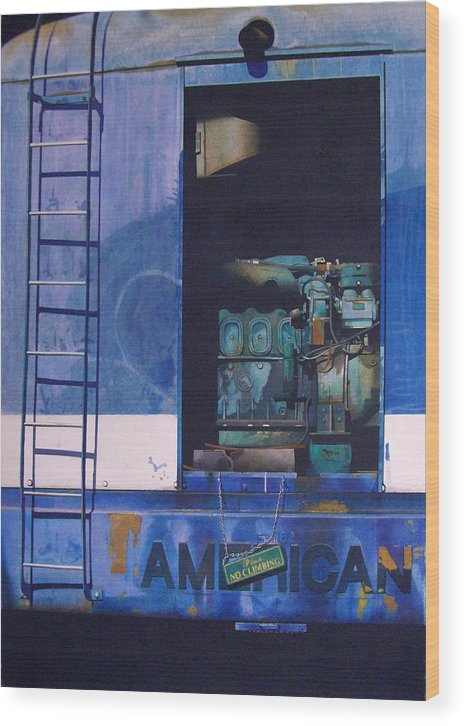 Train Wood Print featuring the painting American Express by Angus McEwan