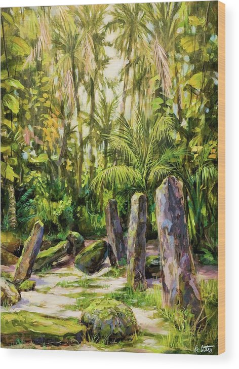 Tropical Landscape Wood Print featuring the painting Ancient Latte Stones by Ric Castro