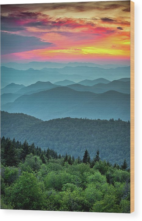 Blue Ridge Parkway Wood Print featuring the photograph Blue Ridge Parkway Sunset - The Great Blue Yonder by Dave Allen