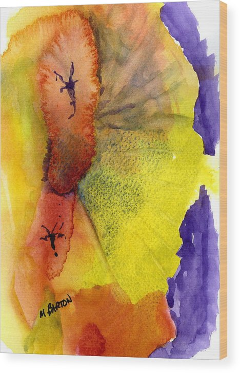 Abstract Wood Print featuring the painting Fandango by Marilyn Barton