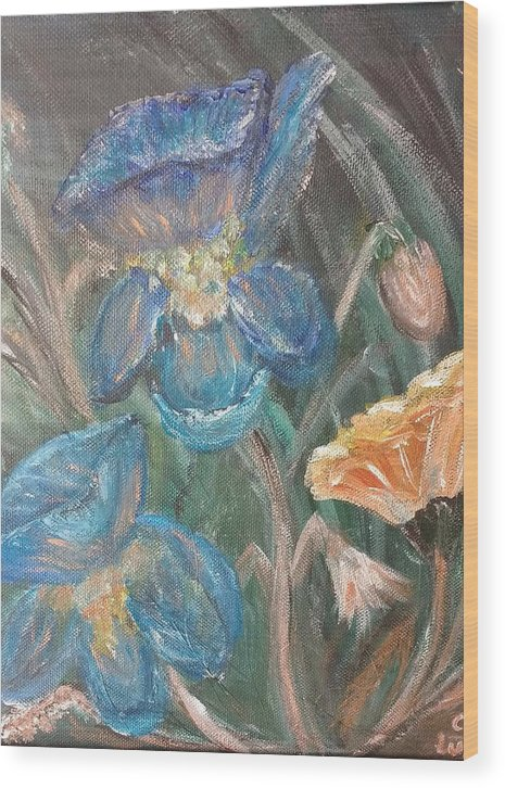 Floral Wood Print featuring the painting Irises by Corina Lupascu