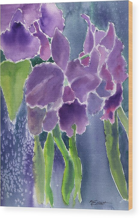 Orchids Wood Print featuring the painting Orchid Rain by Marsha Elliott