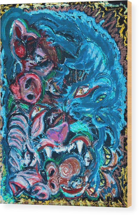 Fantasy Wood Print featuring the painting Phantasmagoria by Aymeric NOA