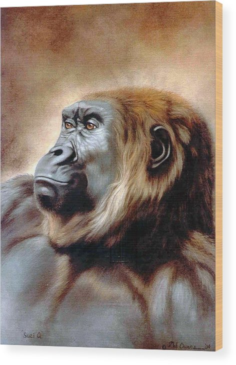 Gorilla Wood Print featuring the painting Suzie Q by Deb Owens-Lowe