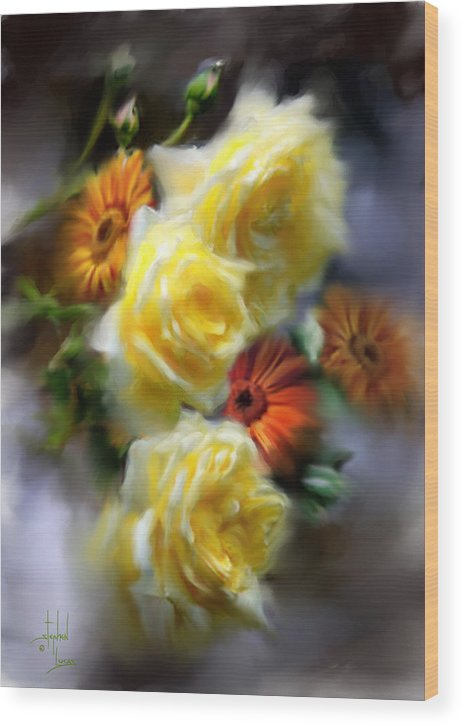 Flowers Wood Print featuring the digital art Yellow Roses by Stephen Lucas