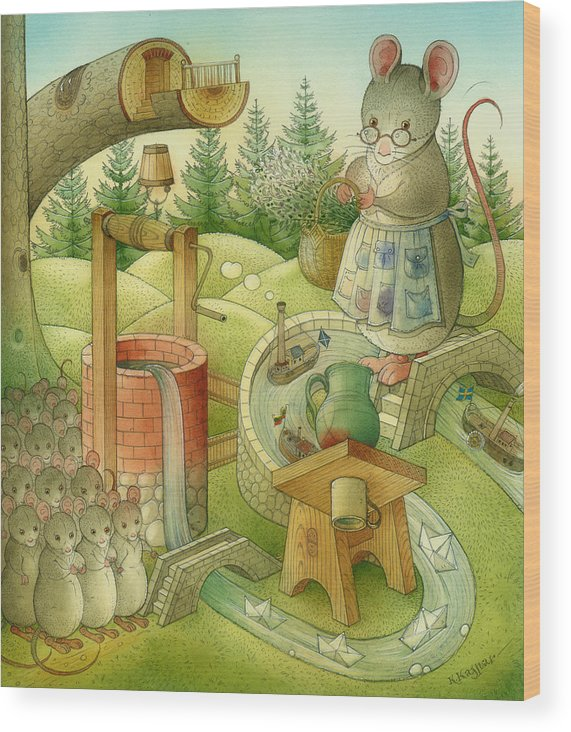 Landscape Wood Print featuring the painting Wrong World by Kestutis Kasparavicius