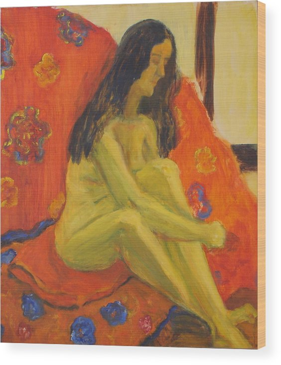 Yellow Wood Print featuring the painting Yellow Nude by Lessandra Grimley