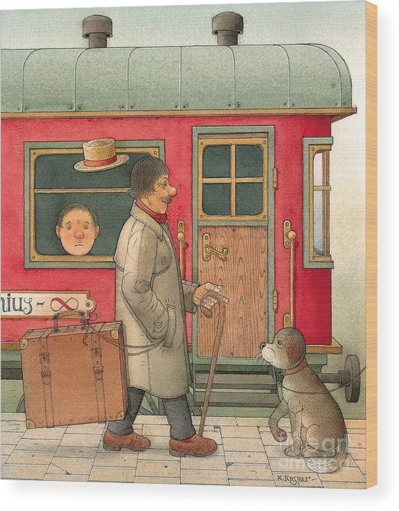 Dream Suitcase Train Trip Travel Wood Print featuring the painting Dream Suitcase by Kestutis Kasparavicius