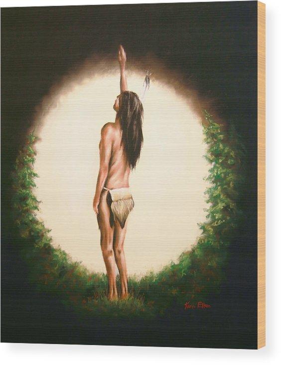 Native American Wood Print featuring the pastel Sundance 2 by Karen Elkan