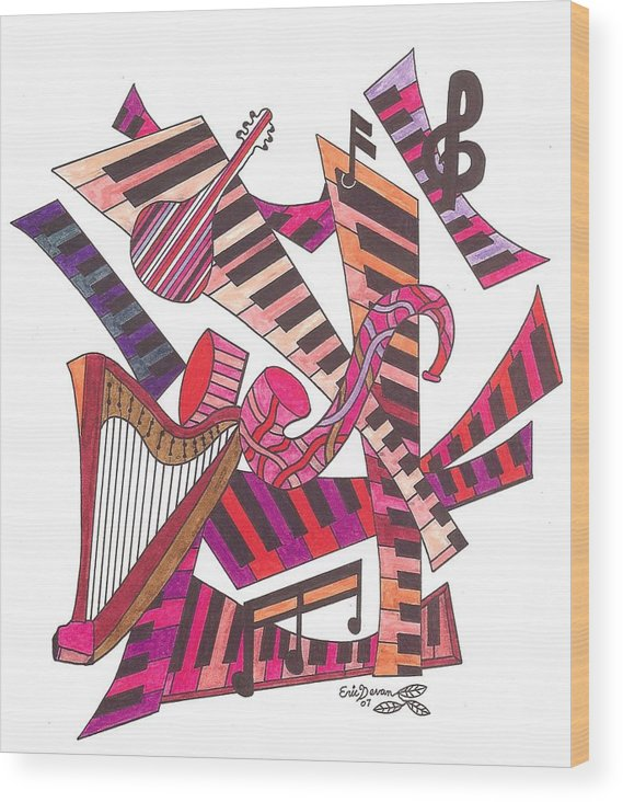 Music Wood Print featuring the drawing Symphony by Eric Devan