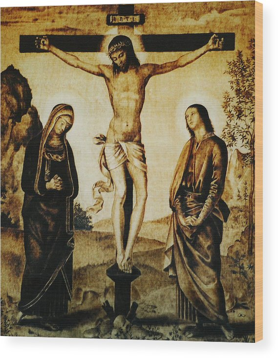 Dino Muradian Wood Print featuring the pyrography The Crucifixion by Dino Muradian