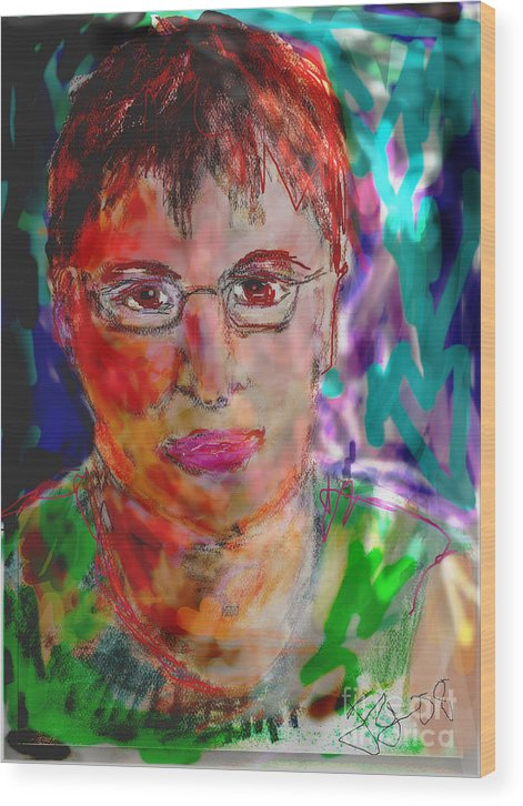 Self Portrait Wood Print featuring the mixed media Self Portrait by Joyce Goldin