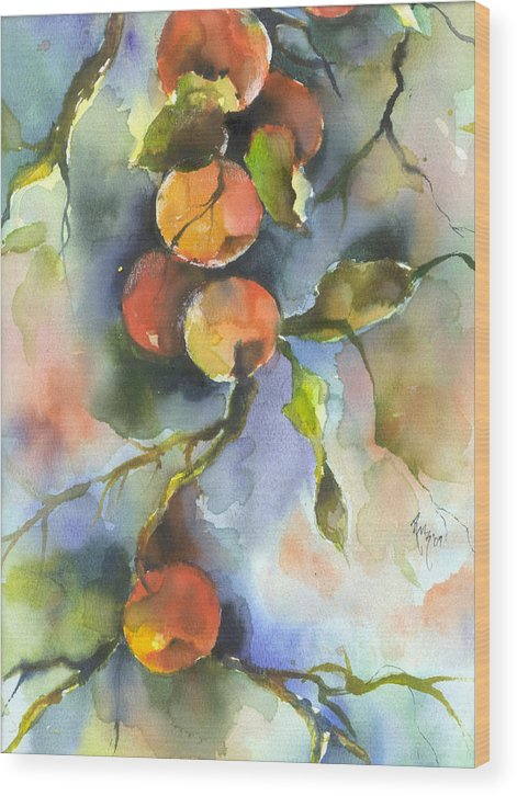 Apples Wood Print featuring the painting Apples by Robin Miller-Bookhout