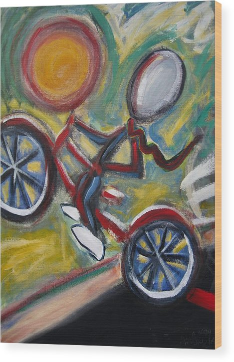 Boy Wood Print featuring the painting Boy On A Bike by Albert Almondia