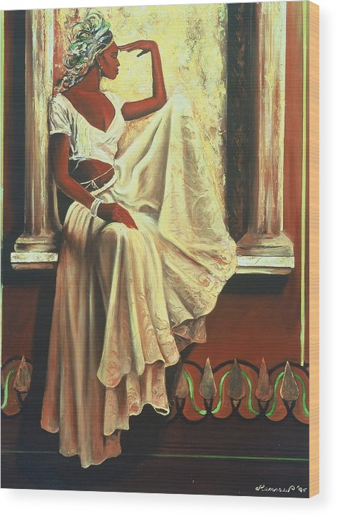 Portraits Wood Print featuring the painting Contemplation by Lee Ransaw