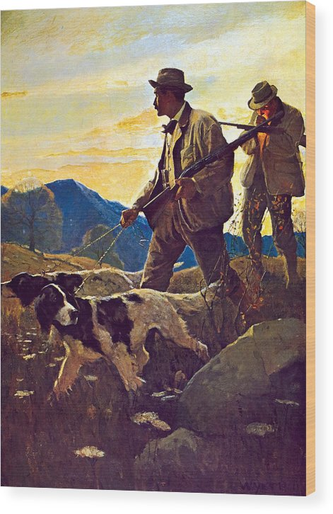 Dogs Wood Print featuring the painting Dawn Of The Open Season by N C Wyeth