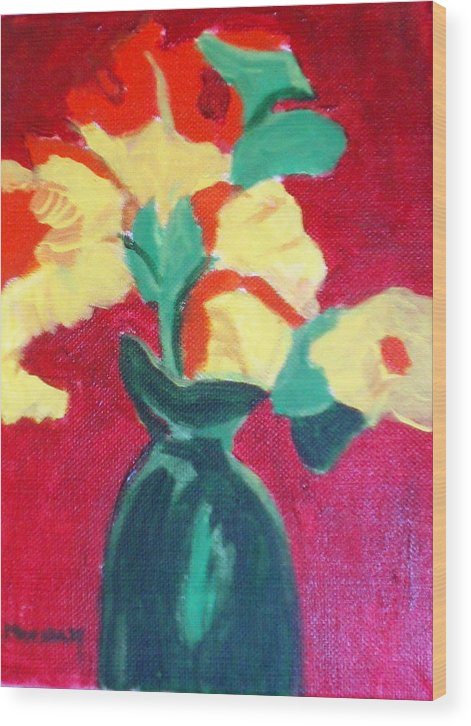 Vase Flowers Wood Print featuring the painting Green Vase With Flowers by Lia Marsman