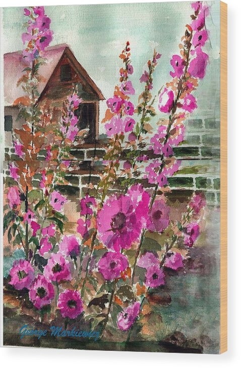 Hollyhocks And Bard Wood Print featuring the print Hollyhocks And Barn by George Markiewicz