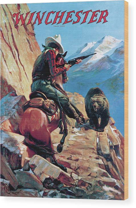 Outdoor Wood Print featuring the painting Horseman And Bear by H G Edwards