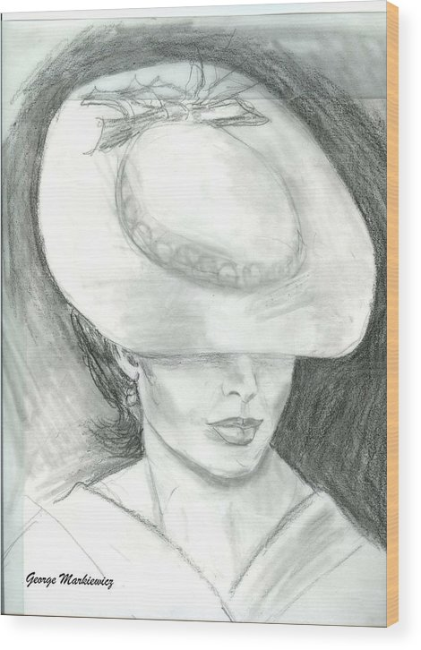 Woman Of Mystery Wood Print featuring the print Mysterious by George Markiewicz