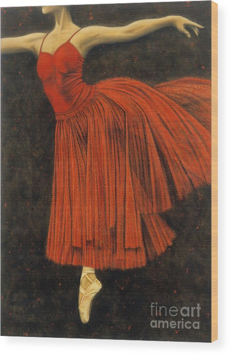 Realism Wood Print featuring the painting Red Dancer by Lawrence Supino