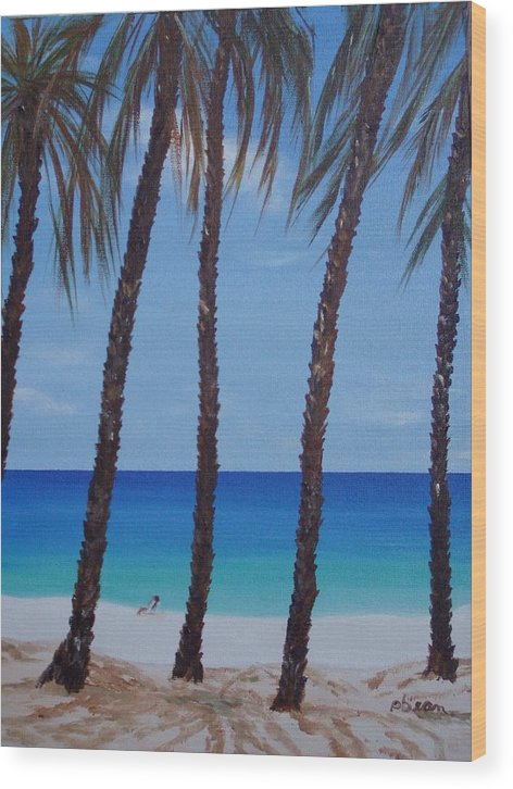 Beaches Wood Print featuring the painting Sunset Beach by Patti Bean