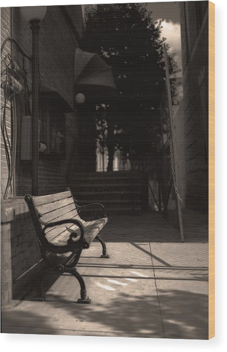 Bench Wood Print featuring the photograph The Alleyway by Ayesha Lakes