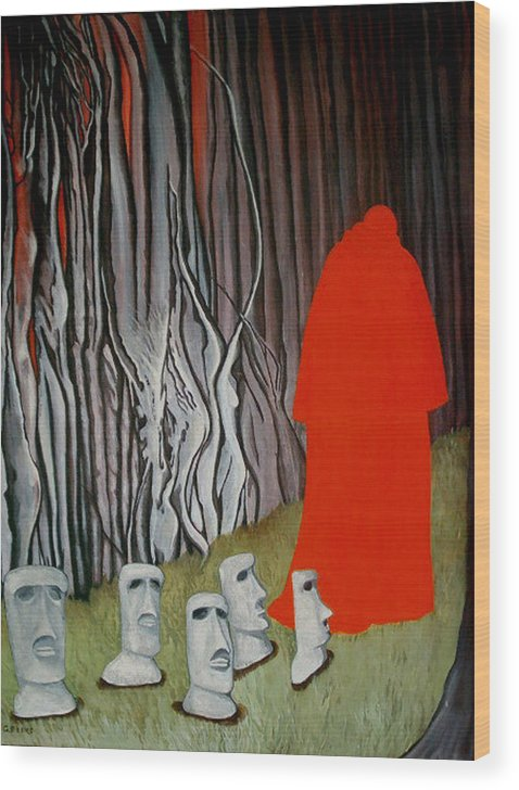 Surreal Wood Print featuring the painting The Cardinal by Georgette Backs