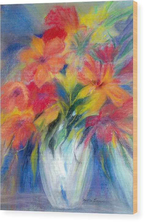 Flowers Wood Print featuring the painting White Vase by Maritza Bermudez