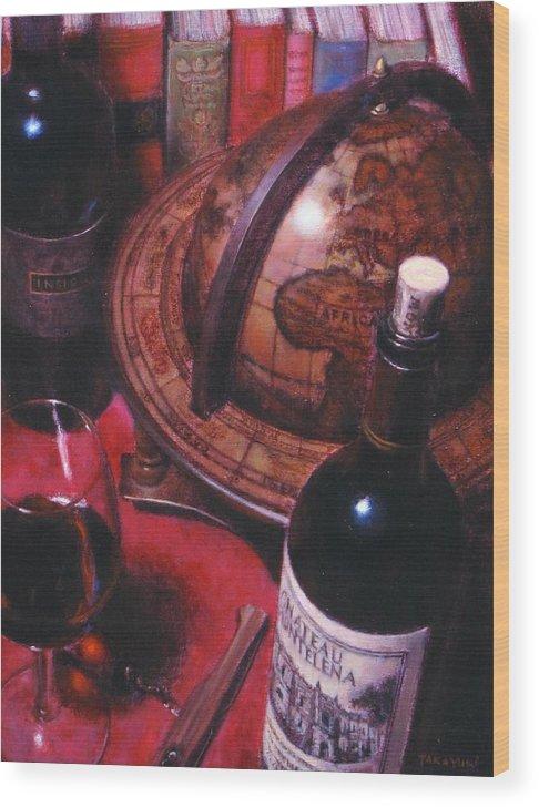Wine Still Life Wood Print featuring the painting Little Break Fine Red Wine by Takayuki Harada