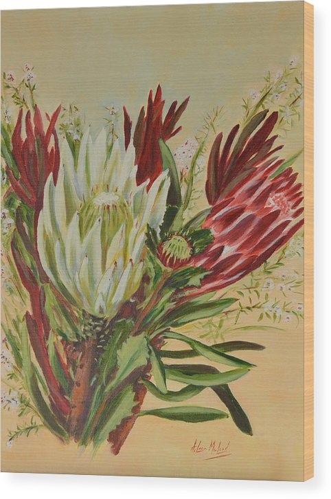 Floral Art Wood Print featuring the painting Protea Bunch by Aileen McLeod