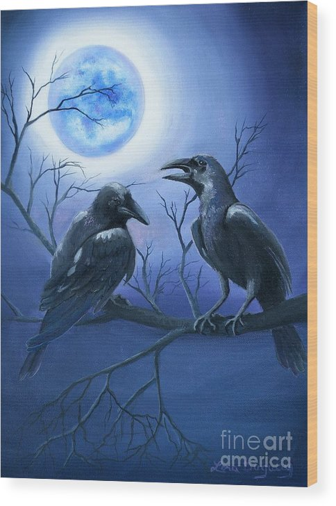 Ravens Wood Print featuring the painting Raven's Moon by Lora Duguay