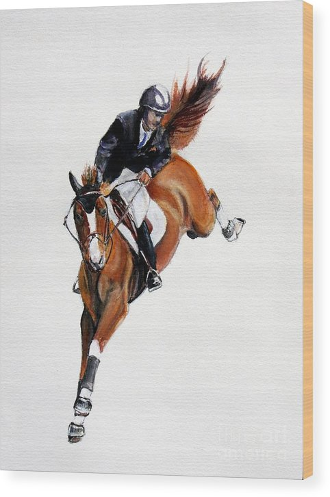 Horse Wood Print featuring the painting Over by Adele Pfenninger