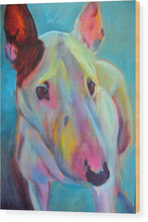 English Bull Terrier Portrait Wood Print featuring the painting Clem by Kaytee Esser