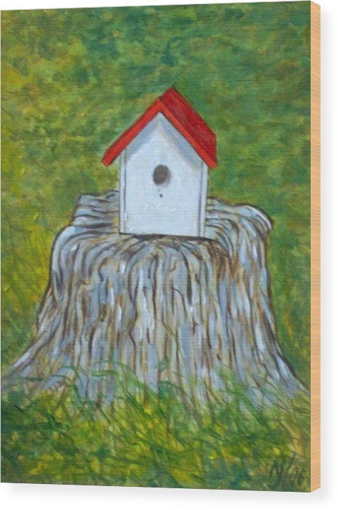 Birdhouse Wood Print featuring the painting Bird House by Norman F Jackson