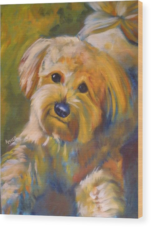 Poodle Mix Wood Print featuring the painting Chester by Kaytee Esser
