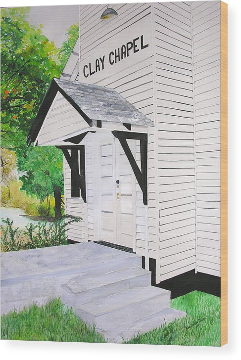 Church Wood Print featuring the painting Clay Chapel by Anna Dubon